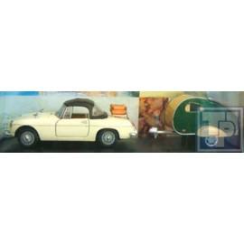 MG B, Cabriolet mit Wohnwagen, 1/43